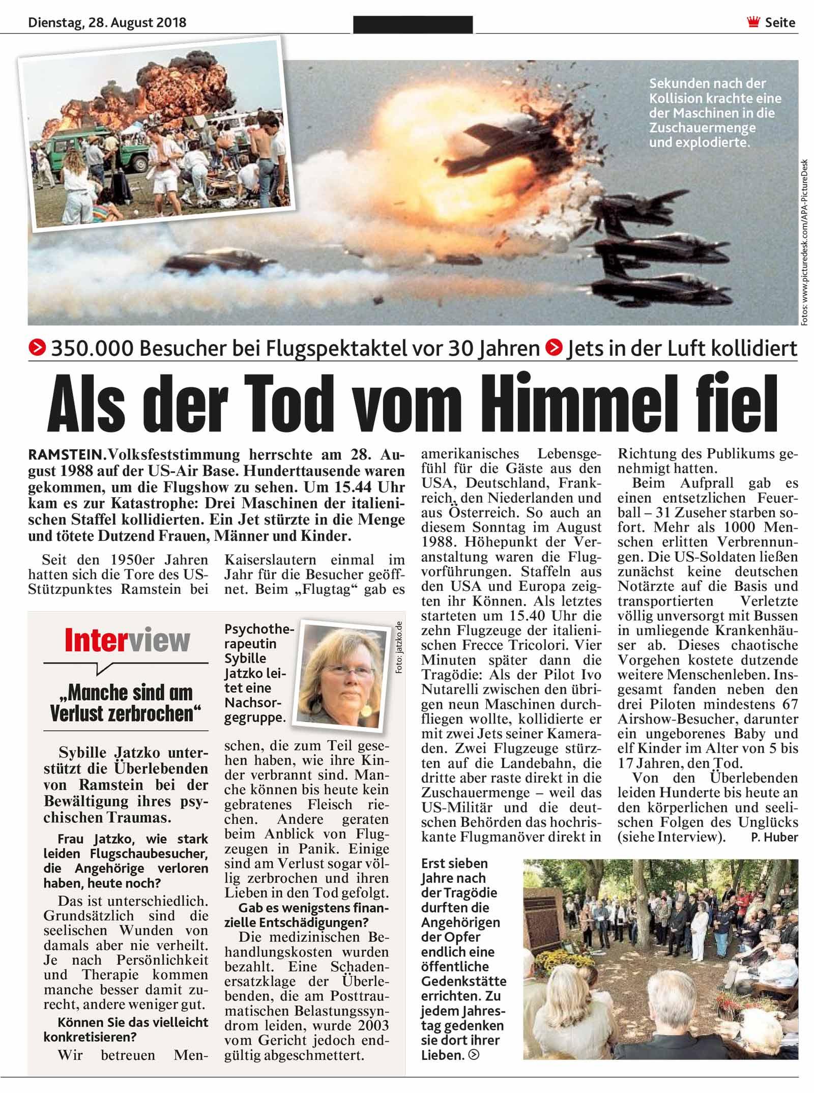 Interview in der Bild zur Flugtagskatastrophe